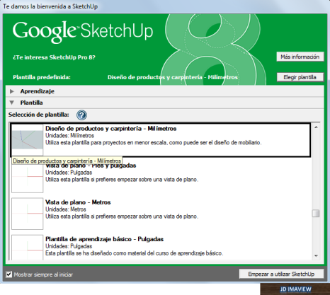medidas google sketchup
