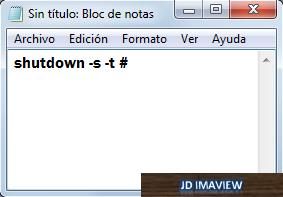 escribir codigo shutdown -s -t #