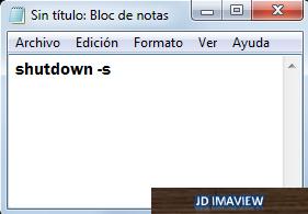 escribir codigo shutdown -s
