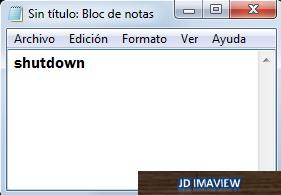 escribir codigo shutdown