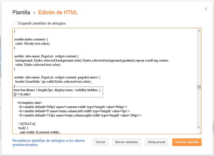 Ejemplo visual - código de blogger