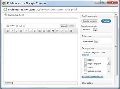 interfaz de publicación de WordPress.com