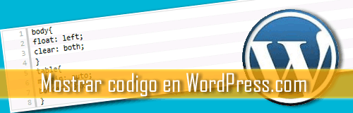 Mostrar código en WordPress