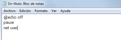 el comando pause mas el net user