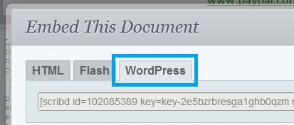 pestana wordpress de insercion